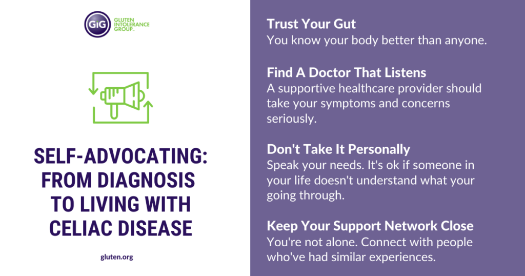Self-Advocating: From Diagnosis to Living with Celiac Disease, here are 4 things to do to advocate for yourself!